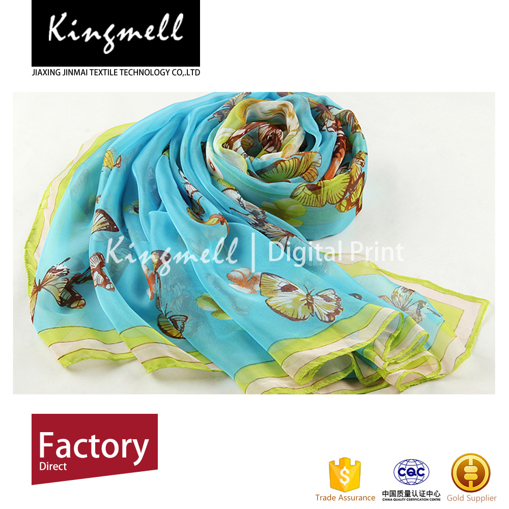 Digital print long, thin, soft silk twill scarf with your own design
