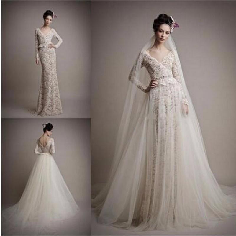Tulle Overskirt Wedding Dresses Mermaid Bateau Neck Simple: Nw1181 Charming V-neck Sheath Long Sleeves Lace Wedding