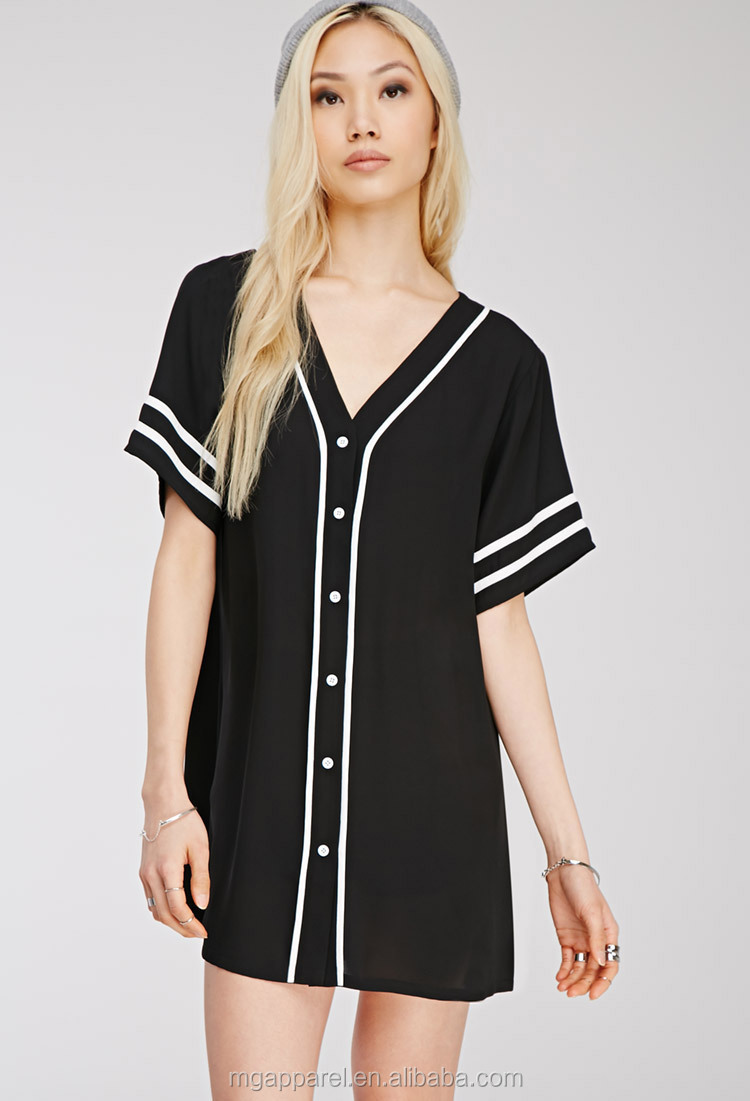 Wholesale black baseball shirts custom longline chiffon for Baseball button up t shirt dress