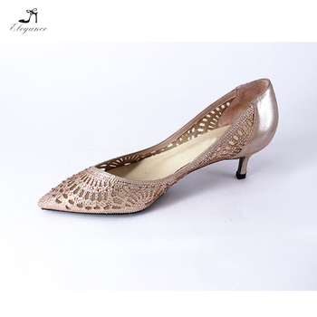 998b95b5e960 Ladies Elegance Shoe Sparkle Rose Gold Rhinestone Cutout Kitten Low Heel  Leather Pointy Toe Bridal Party