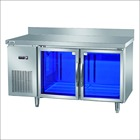 Stainless steel blue light transparent glass door refrigerator for commercial hotel