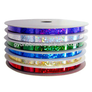 Plastic Glitter Decorative Holographic Plastic Ribbon With Artificial Packing