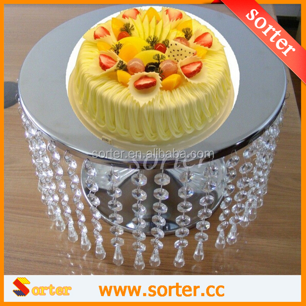 Top Quality Silver Round Crystal Glass Cake Stand With Hanging Beads ...