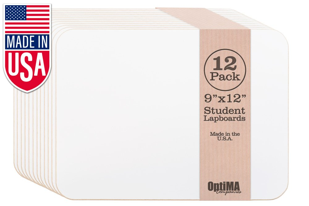 OptiMA 9x12 Single Sided Student Dry Erase Lap Boards (12 Pack)