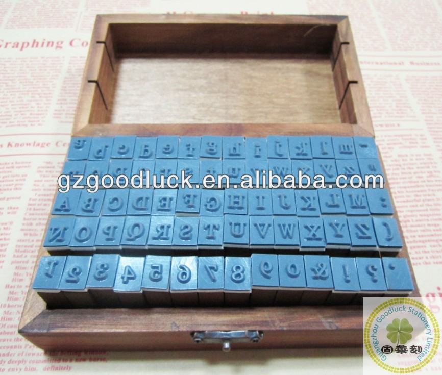 2014 Hot Sale Classic A-Z Alphabet Letters Wooden Rubber Stamp Set