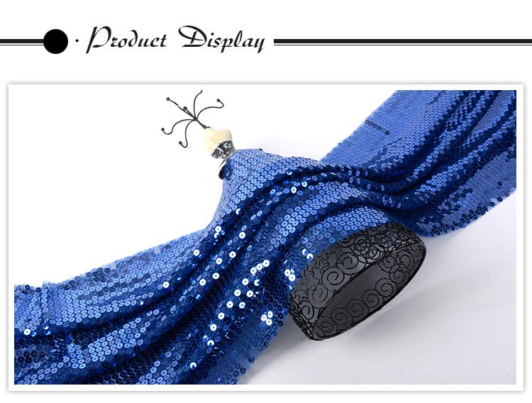 Alibaba supplier different design luxury blue mesh embellished net fabric sequin