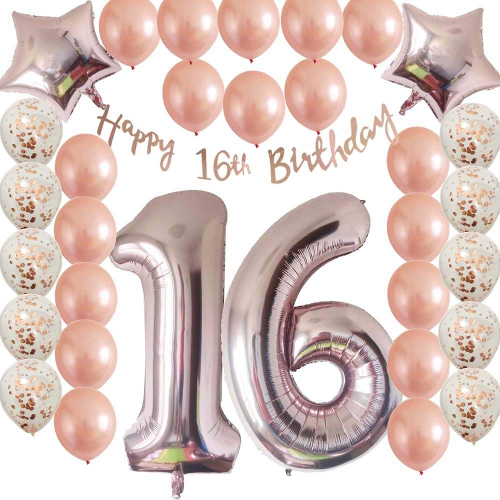Sweet16th Birthday Decorations Party Supplies Set Rose Gold Confetti Latex Balloons Happy 16th Banner As Gift For Her GirlsWomenMen Table