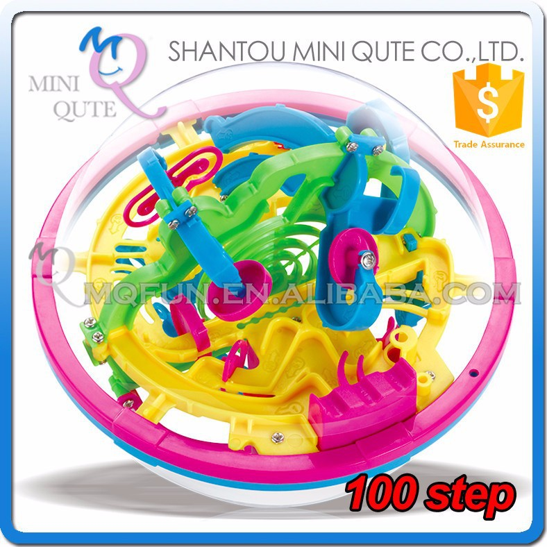 Mini Qute 100 barriers 3D labyrinth maze magical intellect ball kids balance training educational toy 3d puzzle game NO.929
