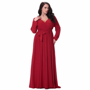 Women Plus Size Maxi Dress Sexy V Neck Long Sleeve Solid Belted Cocktail Party Dress Swing Long Dress Red