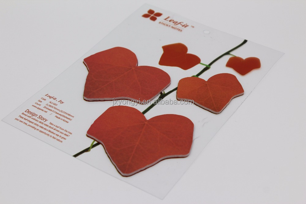 leaf shaped sticky notes die-cut sticky notes