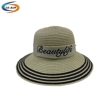 Cosum embroidered ribbon women paper straw hat cheap beach hats 4fc54651c93