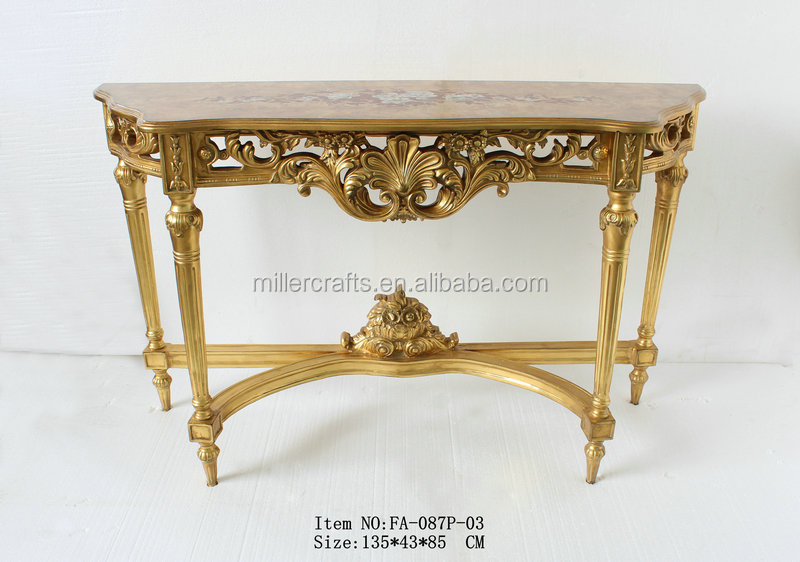 Classical European Style Marble Wood or Marble Top Antique Console Table