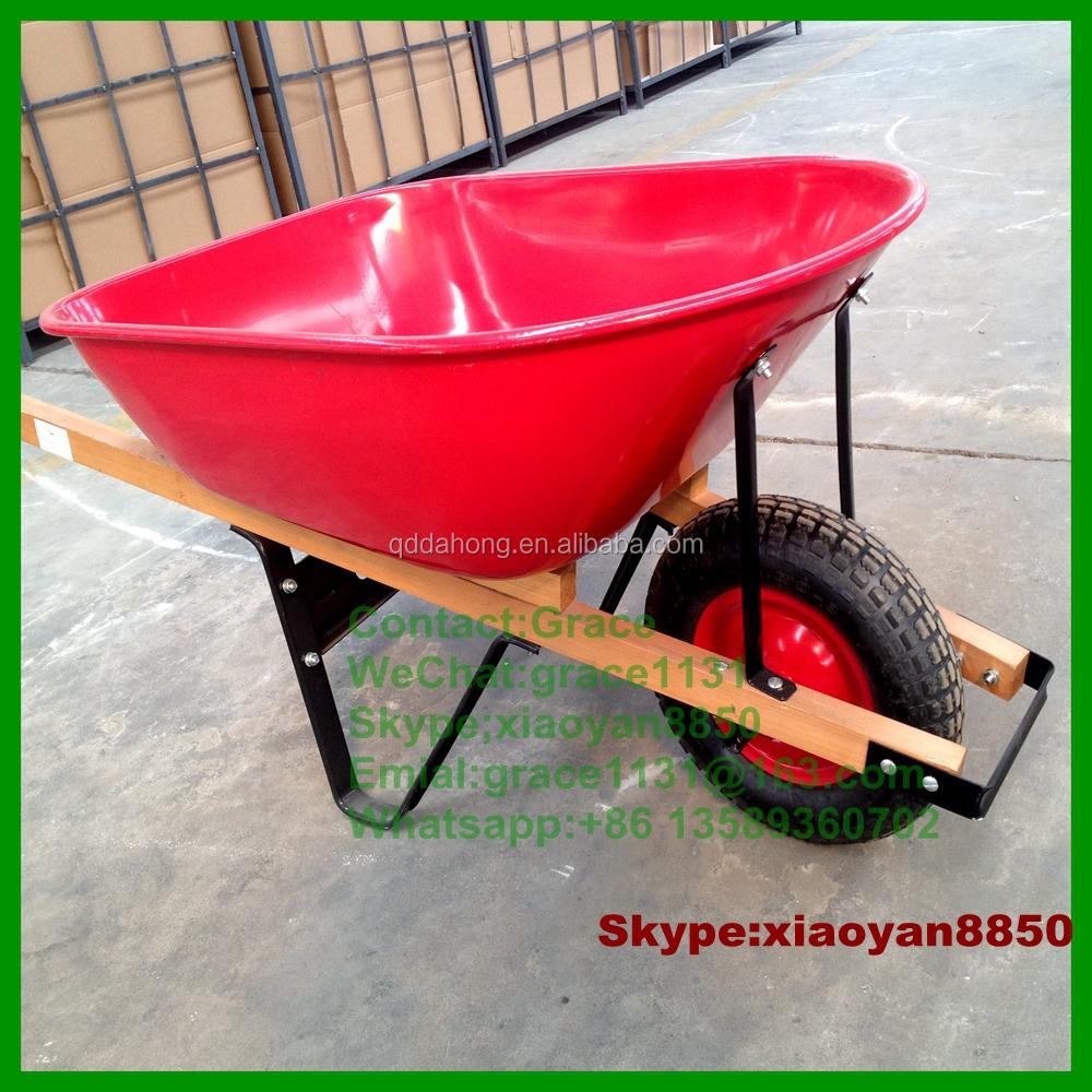 Hot Sale WB6600S Steel Style Garden Wheelbarrow With Wooden Handle 16u0027u0027  Rubber Wheel Garden
