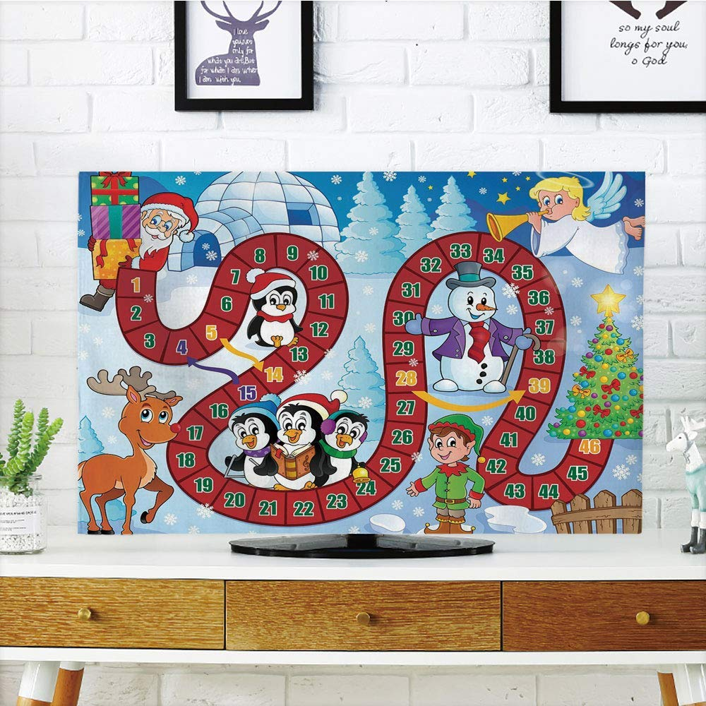 """iPrint LCD TV Cover Lovely,Board Game,Christmas Themed Composition with Santa Claus Cartoon Angel Snowman Penguins Elf,Multicolor,Diversified Design Compatible 47"""" TV"""