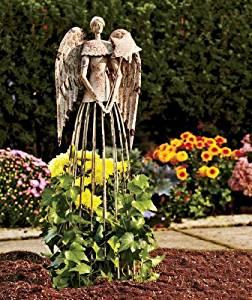 "Antiqued Metal Garden Angel 25"" Height Antiqued Style Garden statue"