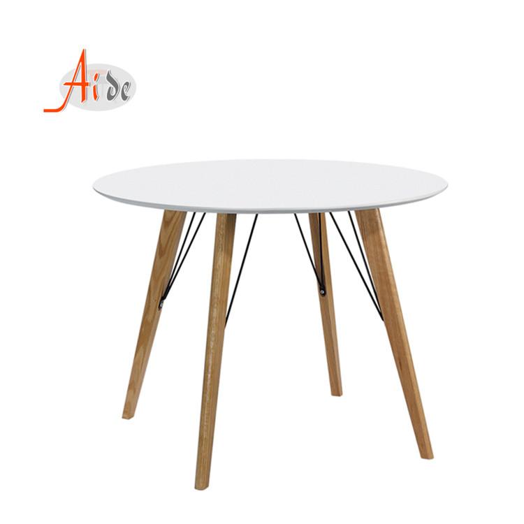 wooden modern top MDF board restaurant white minimalist round dining table set