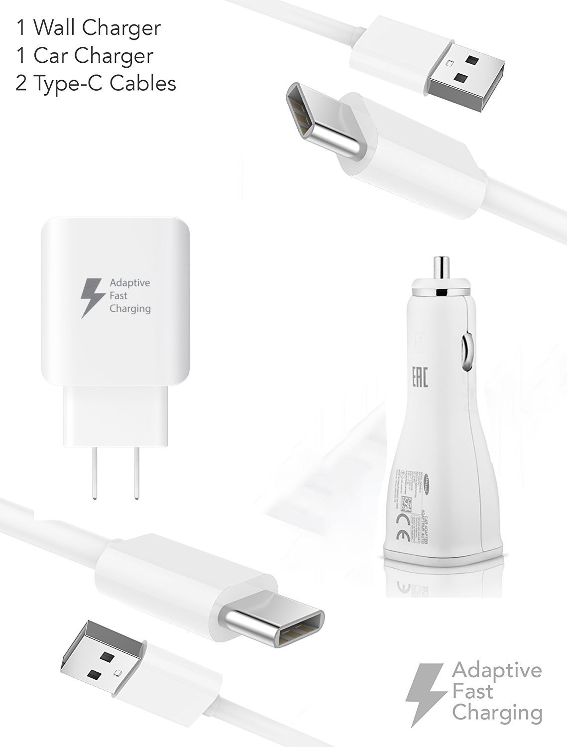 Quick Adaptive Z981 Turbo 18W Wall & Car Dual-Port USB Kit with (2) USB Type-C Cables!