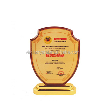 Business Shield Shape Wooden Awards Trophies Plaques With Gold Metal Base For Promotion