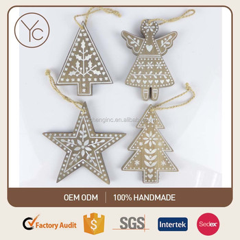 Angel Shaped Christmas Tree.Set Of 4 Wooden Christmas Tree Ornaments Wooden Xmas Star Angel Xmas Tree Tree Shaped Hanging Oranament Milk Tea Color Buy Wooden Christmas