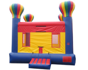 Square inflatable hot air balloon air bouncer with slide