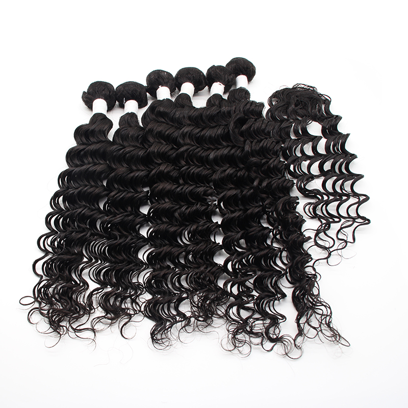 factory price 6 bundles with closure virgin brazilian human hair extension wholesale deep wave virgin hair weave