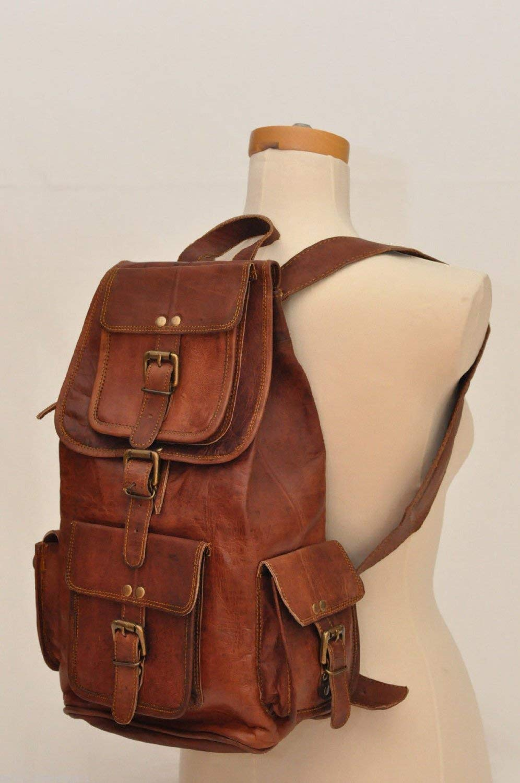 "Gbag (T) 18"" Genuine Leather Retro Rucksack Backpack College Bag,School Picnic Bag Travel"