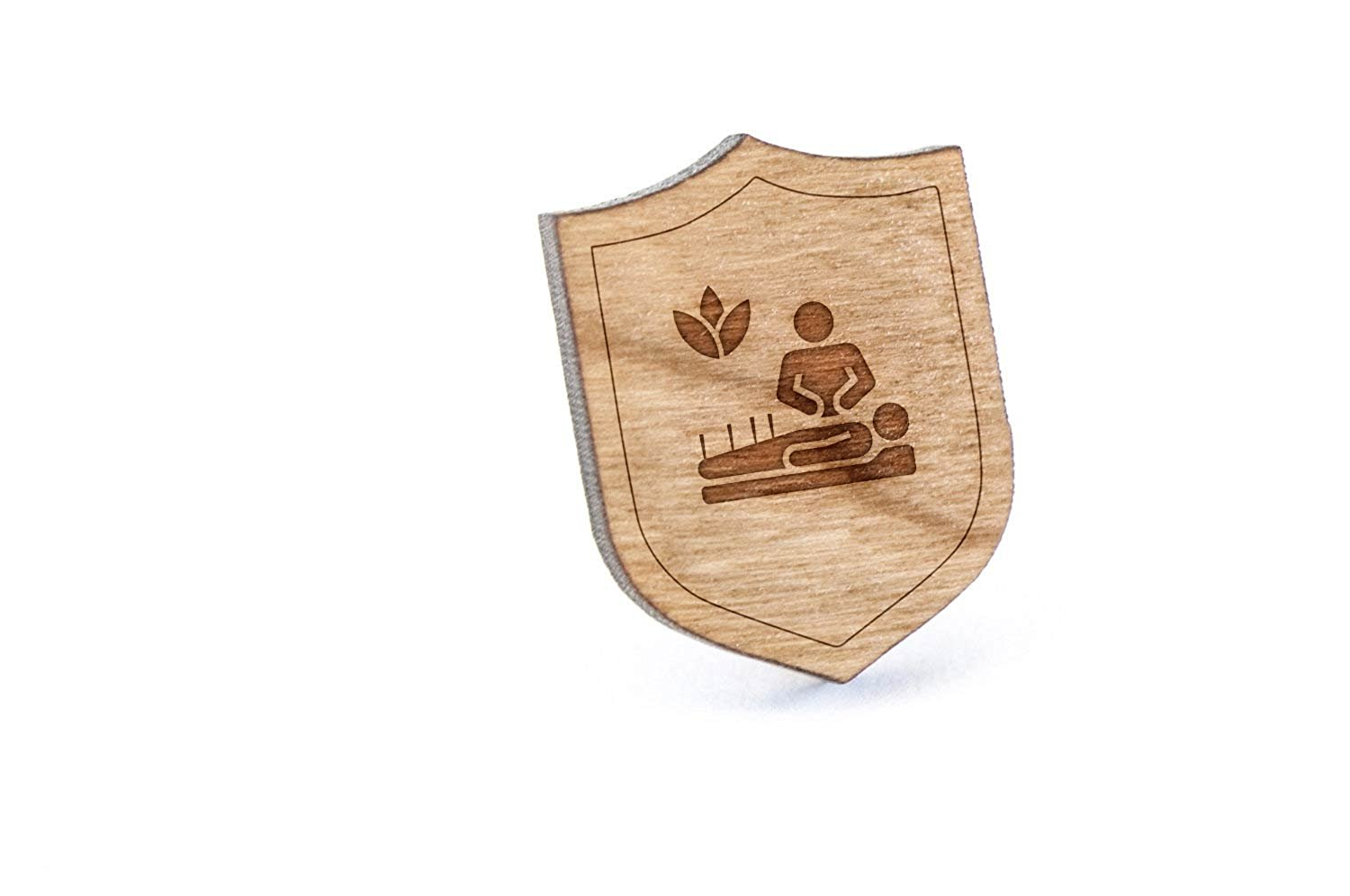 Wooden Accessories Company Wooden Tie Clips with Laser Engraved Keyhole Design Cherry Wood Tie Bar Engraved in The USA