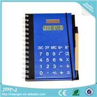 Custom Solar Powered 8 Digits PU Leather Notebook with Calculator