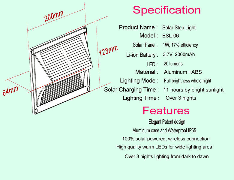 2016 Factory Aluminum Material Solar Step Wall Light Led For Housing