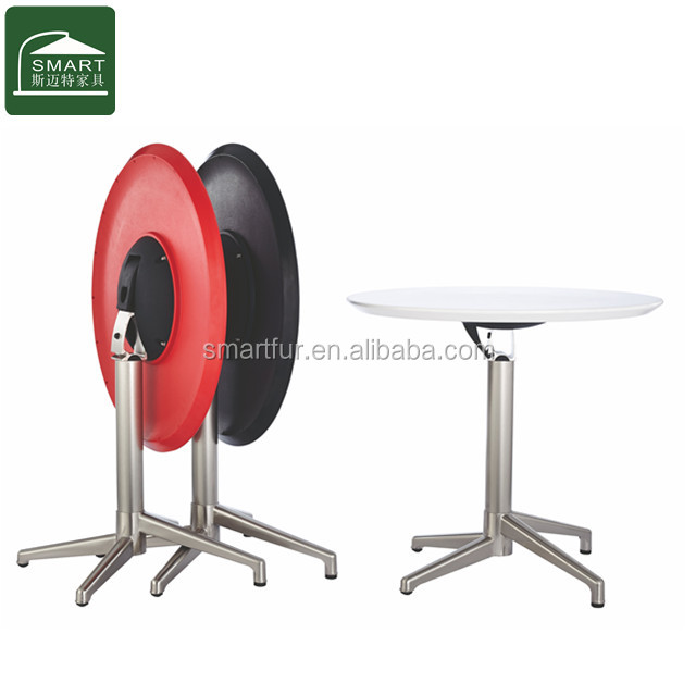 Aluminum coffee <strong>folding</strong> table with round plastic top and durable metal frame