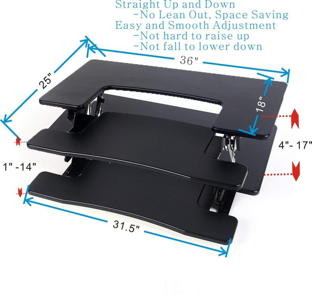 """CHANKONG Standing Desk, Stand Up Desk 36"""" Preassembled Height Adjustable Laptop Standing Desk, Sit Stand Up Desk Topper Riser Fits 2 Monitors Stand Desk Converter (Black)"""