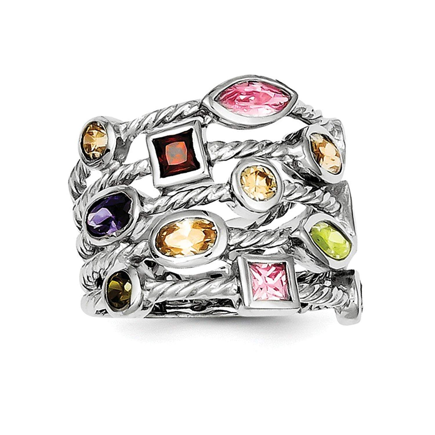 Sterling Silver Oval Polished Marquise Open back Multi-colored Rhodium-plated Multi-color Multi-shaped Gem 5-strand Ring - Ring Size Options: 6 7 8