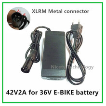 42V2A  electric bike  lithium battery charger  for  36V lithium battery pack XLRF Socket