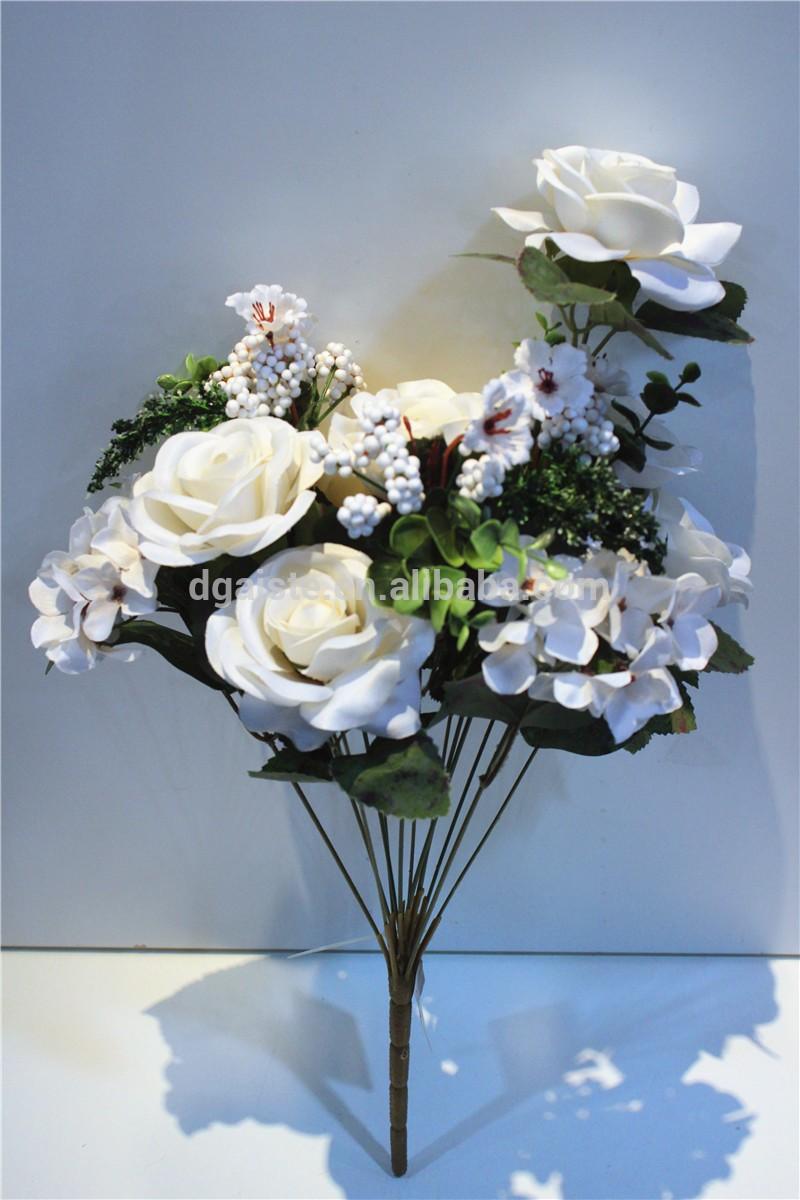 Silk Fabric Flower Bouquet Artificial 70cm H White Smiling Rose Bulk