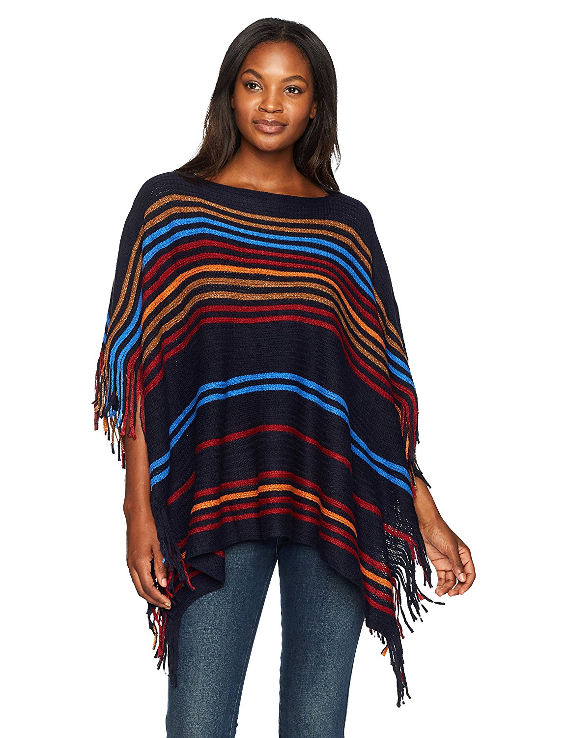 40d361a0ac2d36 Get Quotations · Ruby Rd. Women's Warp Knit Stripe Sweater Ruana Poncho  With Fringe