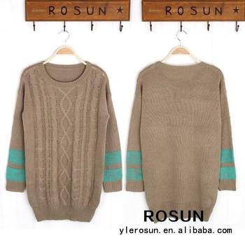 Retro Design Brown Crochet Knitting Striped Pullover Sweater Crochet