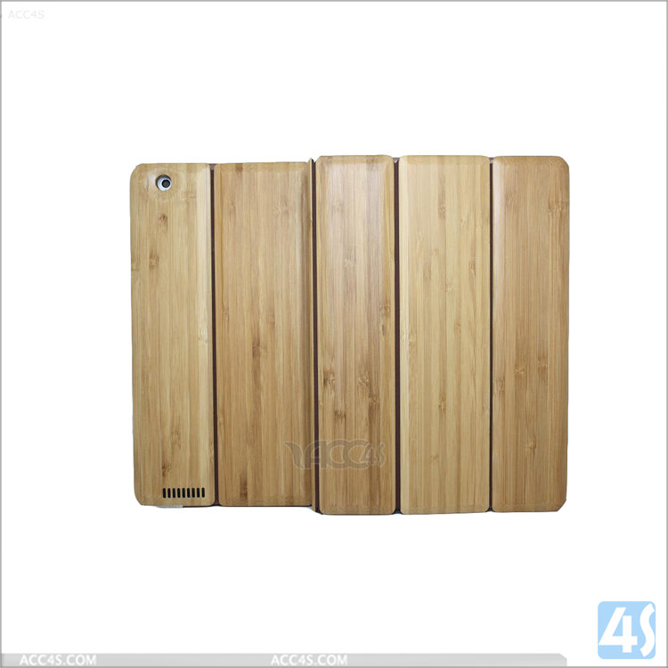 Protective leather case for ipad 4 ,for ipad 4 cover tablet cases ,Three Folding Bamboo + PU Leather Case for iPad 2/3/4