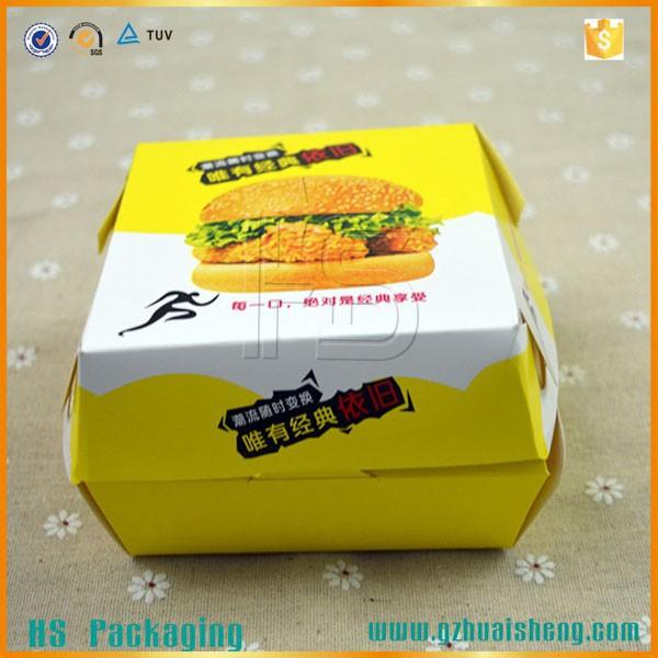 Custom Art Paper Fast Food Packaging Box/hamburger Box