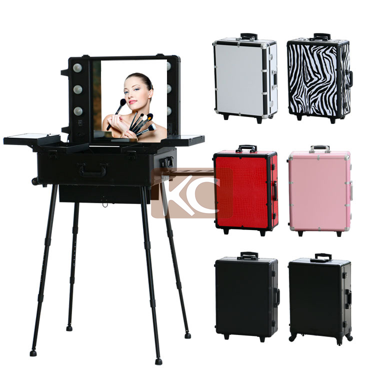 Aluminum Professional Rolling Makeup Beauty Case With Lighted Mirror U0026  Stands