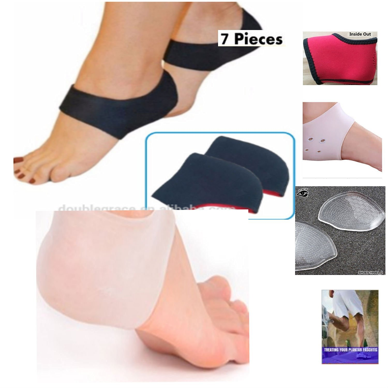 9090808394 Dr. Kelly's Plantar Fasciitis Treatment 7 Pc Heel & Ankle Support Pack Foot  Sleeve Ankle