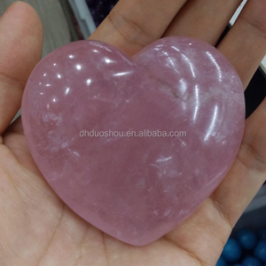 Polished large natural ocean jasper rose quartz crystal heart shaped rocks puffy hearts