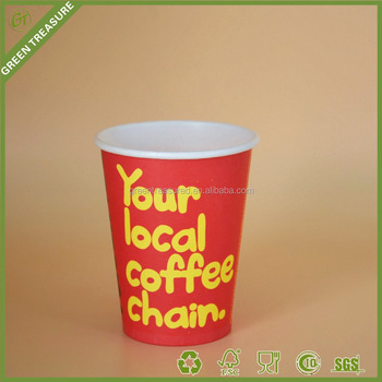 unique printed disposable recycled paper coffee cups wholesale red