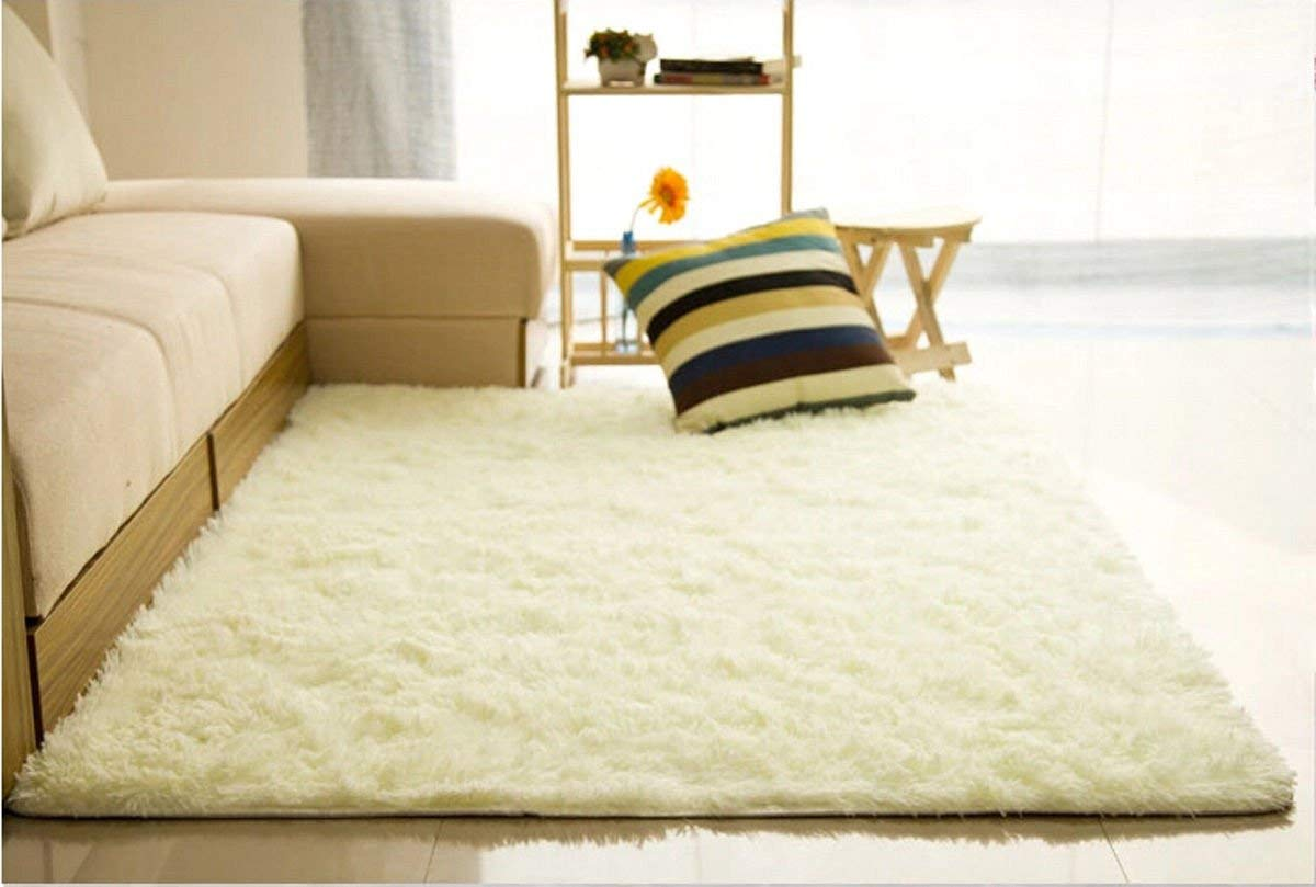 NPLE--Fluffy Rugs Anti-Skid Shaggy Area Rug Dining Room Home Bedroom Carpet Floor Mat (Greamy White)