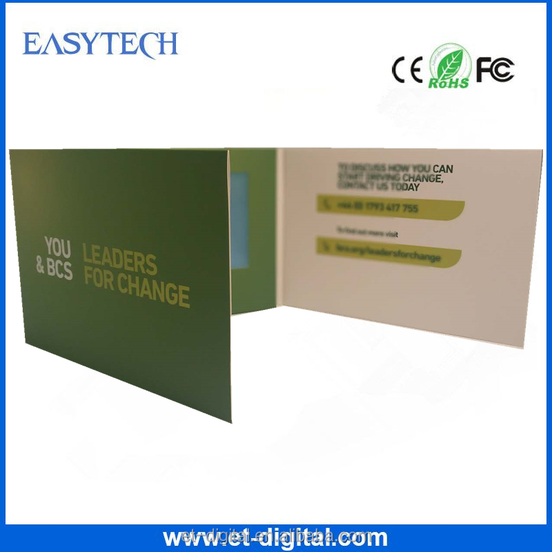Lcd screen business card LCD video Brochure with CE ,ROHS , FCC certificates
