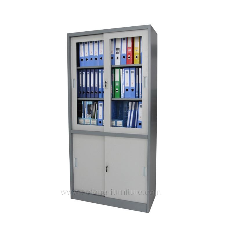 Office 2 Door Metal Storage Cabinet Sliding Door Bookcase Metal Cabinets -  Buy Metal Glass Sliding Door File Hanging Storage Cabinets With Lock,Metal