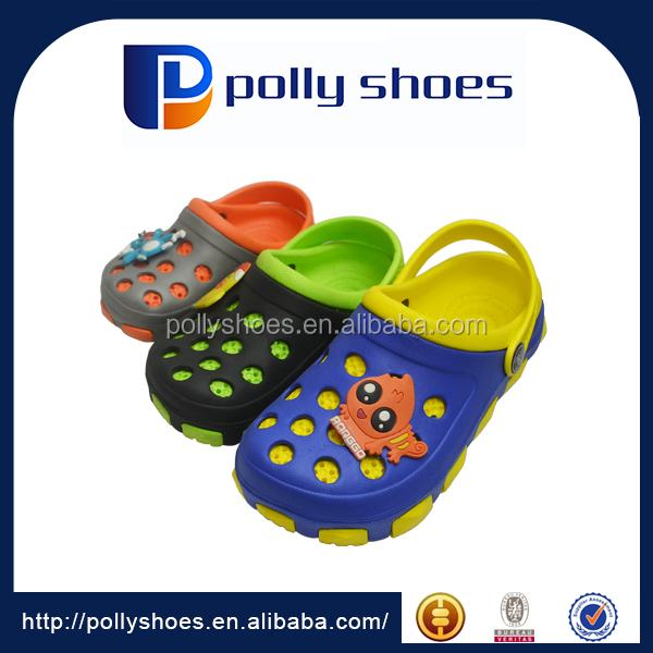 two layer two color sole injection kids slide shoes