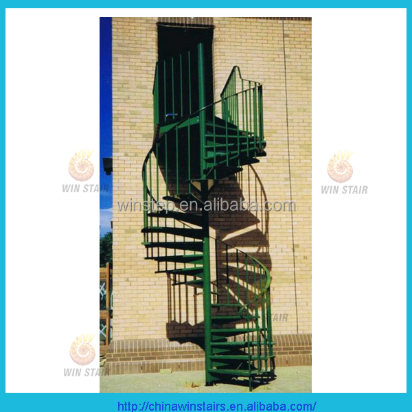 exterior carbon steel spiral stair in green