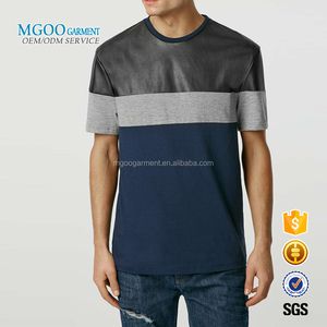 MGOO Garment Custom Made PU Leather Mens T Shirts Patchwork Fashion Brand Shirts Quality Tops Wholesale