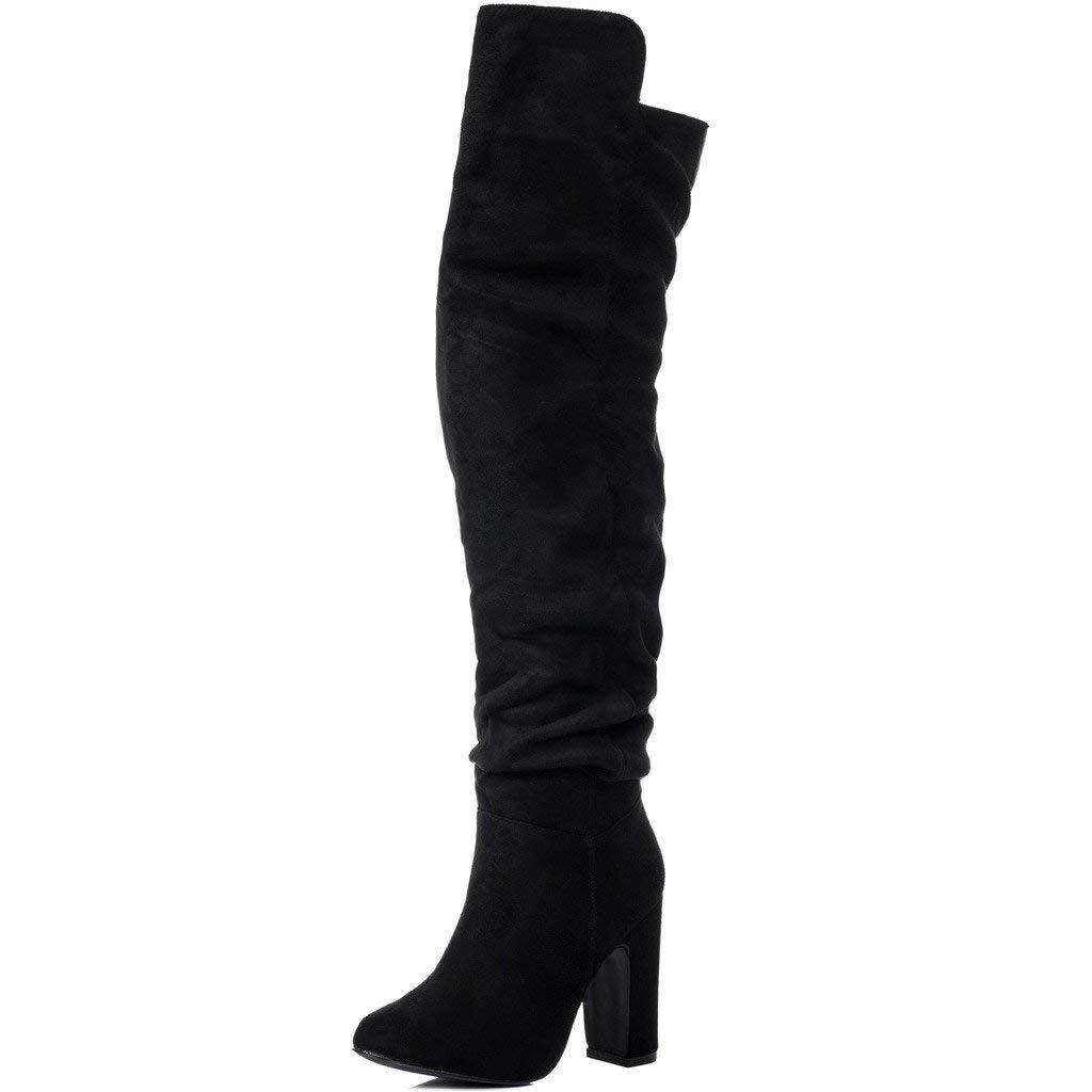 bd57456e7d639 Get Quotations · SPYLOVEBUY ALLIGOTA Women s Wide Calf Block Heel Over Knee  Tall Boots