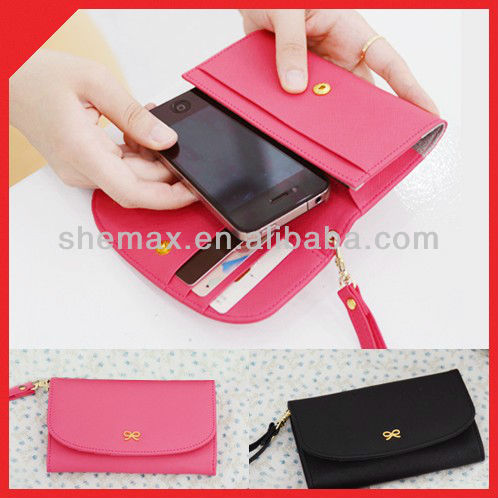 2014 leather Mobile Phone case pouch with strap For Iphone 4 4s 3gs galaxy
